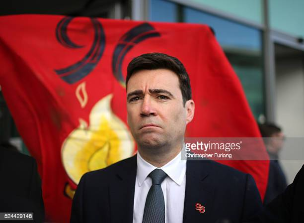 Labour politician Andy Burnham departs Birchwood Park after hearing the conclusions of the Hillsborough inquest on April 26 2016 in Warrington...