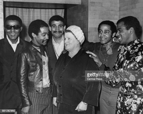 Labour politician Bessie Braddock the MP for Liverpool Exchange meets Liverpool pop group The Chants at a reception at Hatchett's in Piccadilly...