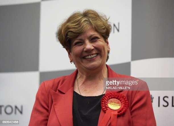 Labour politician Emily Thornberry smiles after holding her seat of Islington South at the count centre in Islington London early in June 9 hours...