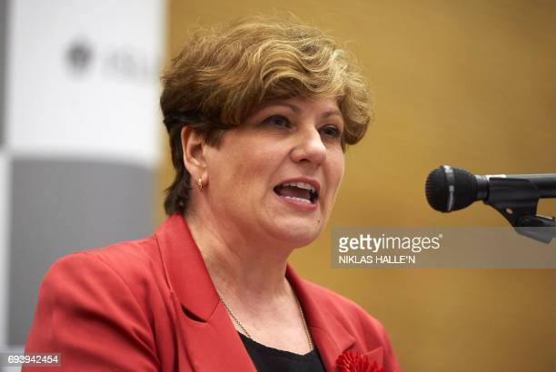 Labour politician Emily Thornberry speaks after holding her seat of Islington South at the count centre in Islington London early in June 9 hours...