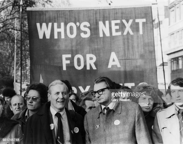 Labour politicians Anthony Wedgwood Benn and Eric Heffer take part in a march through London organised by the Labour Party to protest against public...