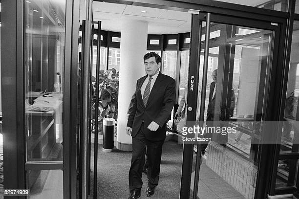 Labour Shadow Chancellor Gordon Brown arrives at the offices of pharmaceutical company SmithKline Beecham in Brentford London during his party's...
