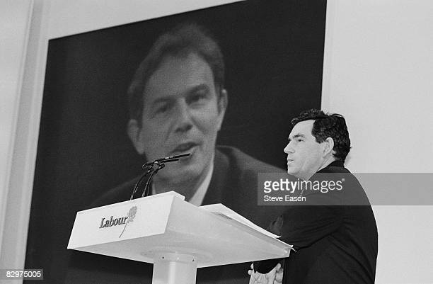 Labour Shadow Chancellor Gordon Brown at a press conference during his party's general election campaign 28th April 1997 Labour leader Tony Blair...