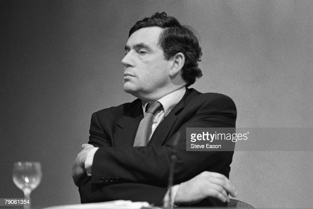 Labour Shadow Chancellor Gordon Brown at the launch of the party's draft manifesto entitled 'New Labour New Life for Britain' 4th July 1996