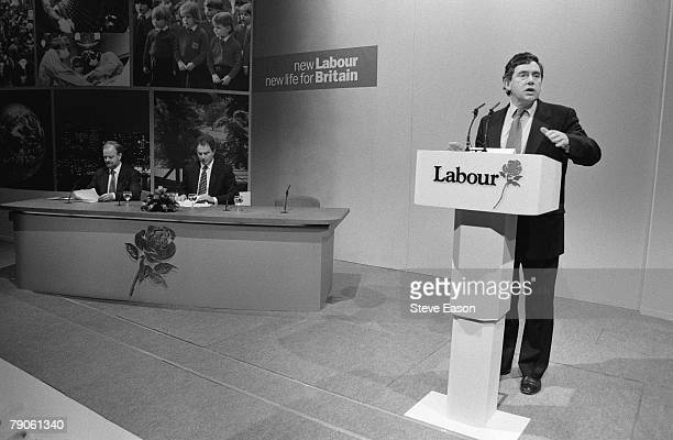 Labour Shadow Chancellor Gordon Brown gives a speech at the launch of the party's draft manifesto entitled 'New Labour New Life for Britain' 4th July...