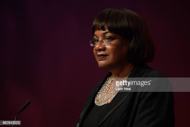Labour Shadow Home Secretary Diane Abbott addresses delegates in the main hall on the first day of the Labour Party conference on September 24 2017...