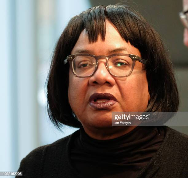 Labour Shadow Home Secretary Diane Abbott arrives to listen to Labour leader Jeremy Corbyn deliver a speech to members of the media where he outlined...