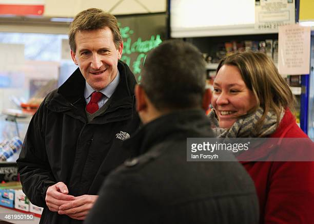 Labour shadow Justice Minister Dan Jarvis and Anna Turley the Labour candidate for Redcar and Cleveland speak with the owner of a convenience store...