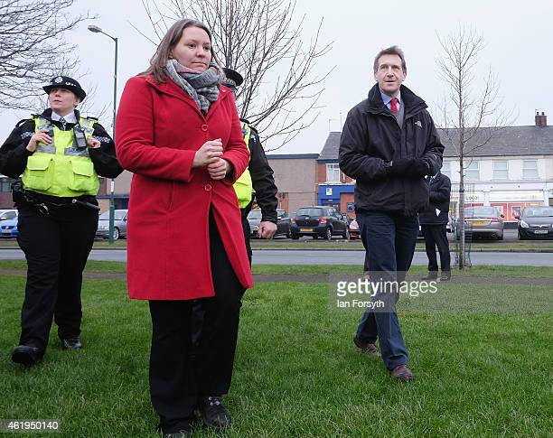 Labour shadow Justice Minister Dan Jarvis and Labour candidate for Redcar and Cleveland Anna Turley walk through an area called Dormanstown during a...