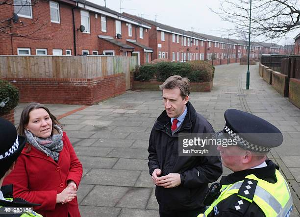 Labour shadow Justice Minister Dan Jarvis and Labour candidate for Redcar and Cleveland Anna Turley speak with Inspector Emily Harrison and Chief...