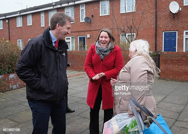 Labour shadow Justice Minister Dan Jarvis and Labour candidate for Redcar and Cleveland Anna Turley share a joke with a member of the public during a...