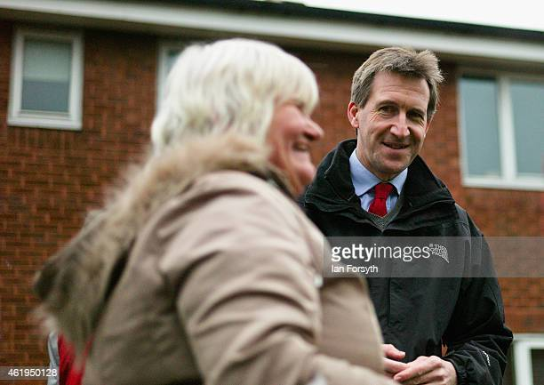 Labour shadow Justice Minister Dan Jarvis speaks with a member of the public during a visit on January 22 2015 in Redcar England The visit comes on...