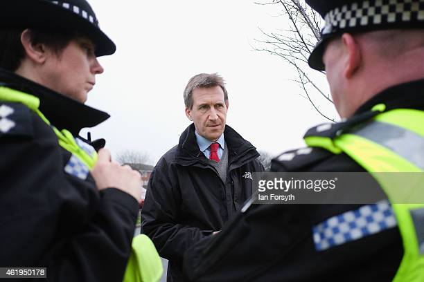 Labour shadow Justice Minister Dan Jarvis speaks with Inspector Emily Harrison and Chief Inspector Jason Dickson on January 22 2015 in Redcar England...