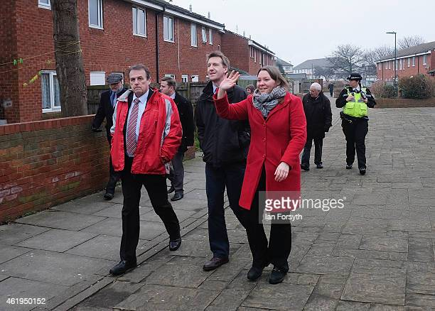 Labour shadow Justice Minister Dan Jarvis walk through the streets in Dormanstown Redcar with Labour candidate for Redcar and Cleveland Anna Turley...
