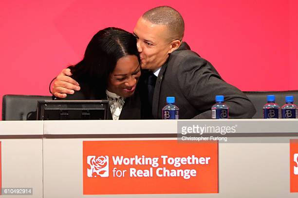 Labour shadow secretary for International development Kate Osamor and shadow defence secretary of state for defence Clive Lewis embrace after Kate...