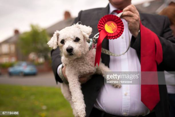 Labour supporter holds a dog wearing a Labour rosette at a rally led by Jeremy Corbyn in Whitchurch in the Cardiff North constituency on April 21,...