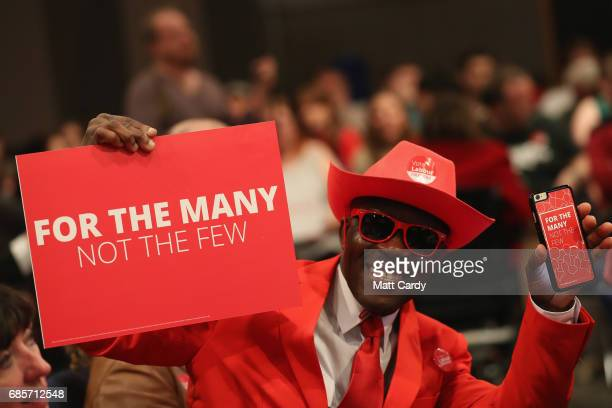Labour supporter is seen ahead of Labour leader Jeremy Corbyn speaking at the International Convention Centre on May 20 2017 in Birmingham England...