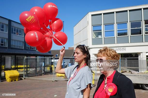 Labour supporters await the arrival of David Blunkett veteran Labour politician and former Home Secretary Education Secretary and Work and Pensions...