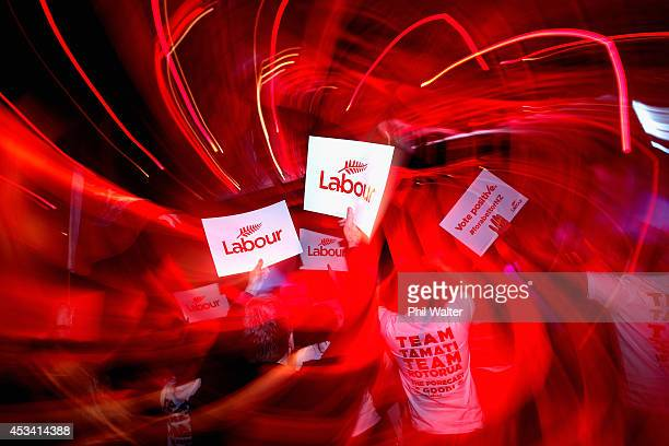 Labour supporters celebrate as leader of the Labour Party David Cunliffe officially launches Labour's election campaign at Viaduct Events Centre on...