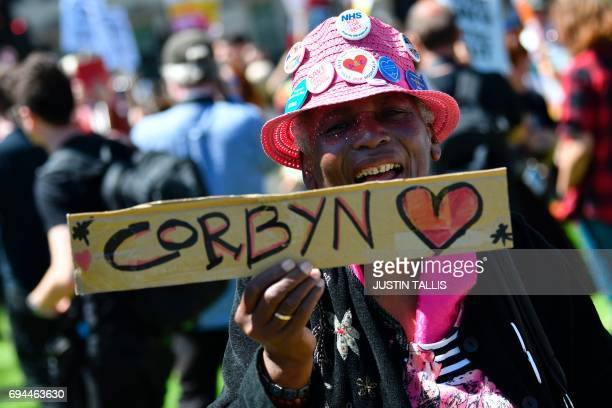 TOPSHOT Labour supporters hold placards at an antiConservative Party and antiDemocratic Unionist Party demonstration in Parliament Square in front of...