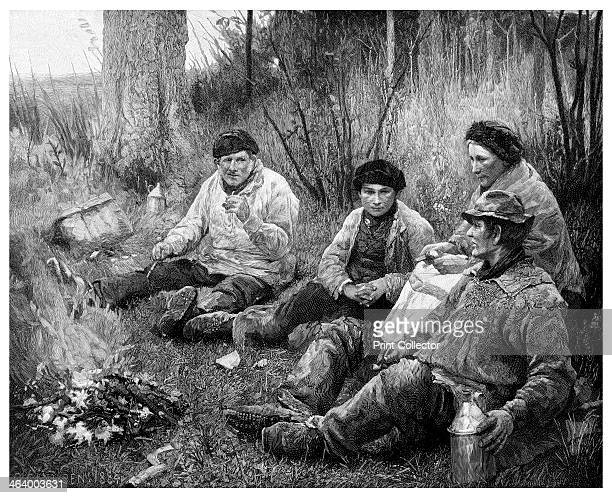 'Labourers after Dinner' 1895 A print from The Magazine of Art Cassell and Company Limited London Paris and Melbourne 1895