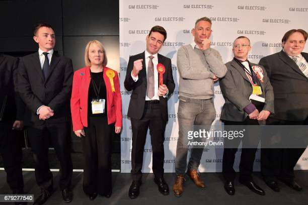Labour's Andy Burnham celebrates winning the Greater Manchester mayoral election at Manchester Central on May 5 2017 in Manchester England Six new...