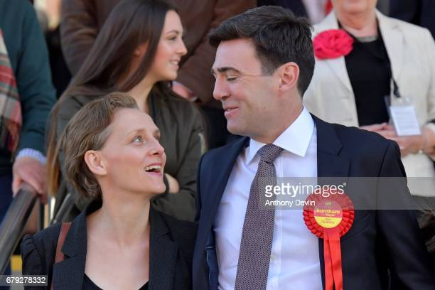 Labour's Andy Burnham celebrates winning the Greater Manchester mayoral election with wife MarieFrance van Heel outside Manchester Central on May 5...