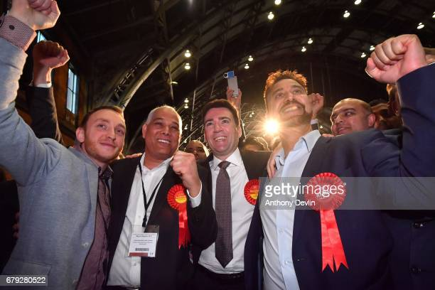 Labour's Andy Burnham celebrates winning the Greater Manchester mayoral election with supporters at Manchester Central on May 5 2017 in Manchester...