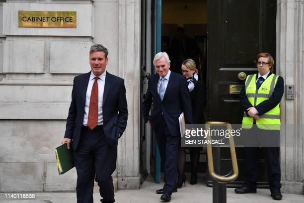 Labour's Brexit spokesman Keir Starmer and Labour's shadow chancellor John McDonnell leave the Cabinet office afterBrexit talks with the Conservative...