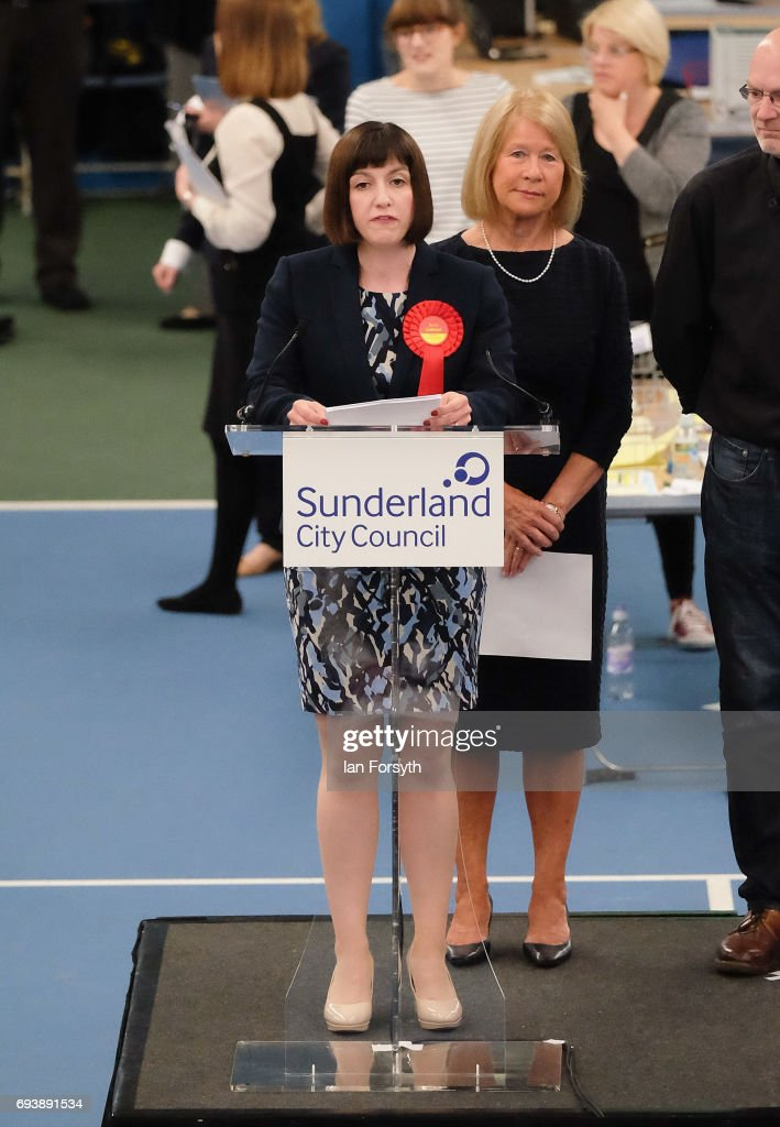 Labour's Bridget Maeve Phillipson gives a speech after being declared winner of the Houghton and Sunderland South constituency is announced at the Silksworth Community Pool, Tennis and Wellness Centre on June 8, 2017 in Sunderland, United Kingdom. After a snap election was called, the United Kingdom went to the polls today following a closely fought election. The results from across the country are being counted and an overall result is expected in the early hours.
