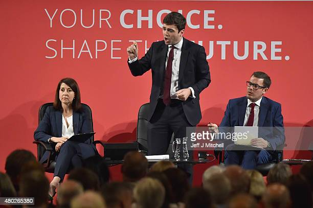 Labours candidate for Leader Andy Burnham takes part in a hustings in The Old Fruitmarket Candleriggs on July 10 2015 in Glasgow Scotland The four...