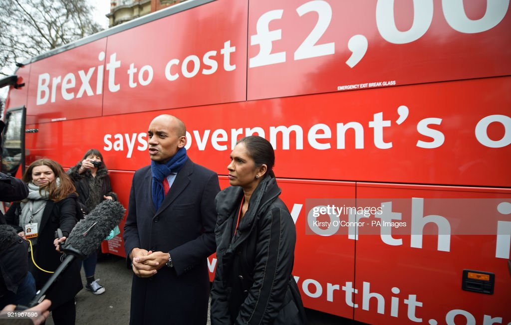 Labour's Chuka Umunna (left) and pro-EU campaigner Gina Miller speak to the media at the launch of the Brexit 'Facts Bus' in Great College Street, London, before it starts a national 8 day tour.