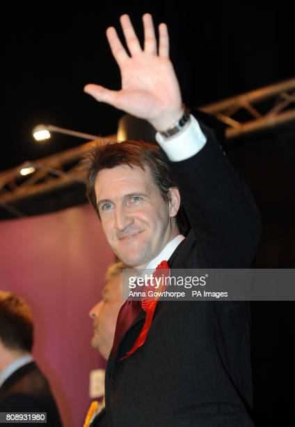 Labour's Dan Jarvis celebrates his victory in the Metrodome Complex Barnsley