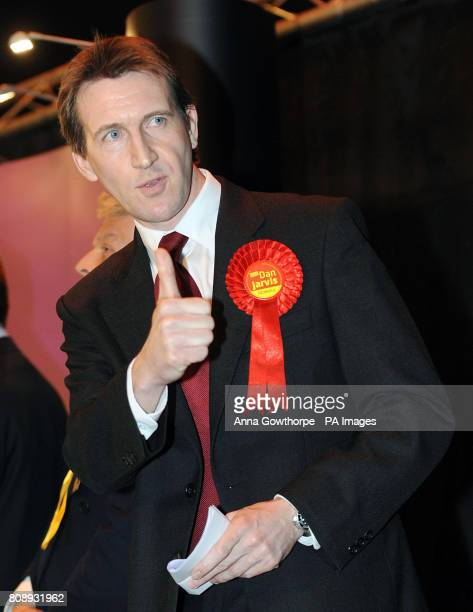 Labour's Dan Jarvis gives a thumbs up to his supporters as he celebrates his victory in the Metrodome Complex Barnsley