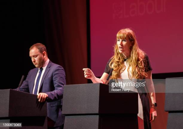 Labour's deputy leadership candidates Ian Murray and Angela Rayner attend the Labour's deputy leadership hustings on the stage at SEC on February 15...