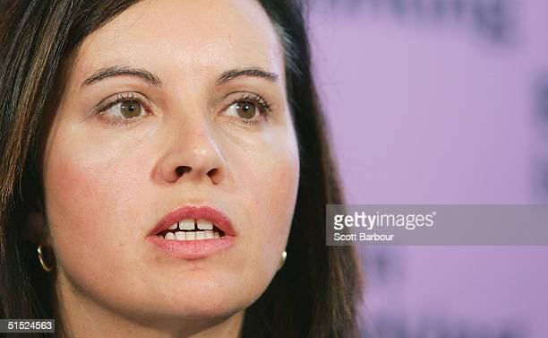 Labour's Home Office Minister Caroline Flint answers questions during a press conference about 'Law and Order' on October 21 2004 in London England...