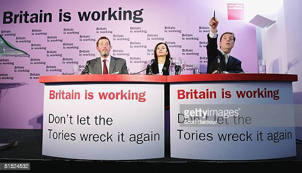 Labour's Home Secretary David Blunkett Home Office Minister Caroline Flint and Labour's General Election Coordinator Alan Milburn answer questions...