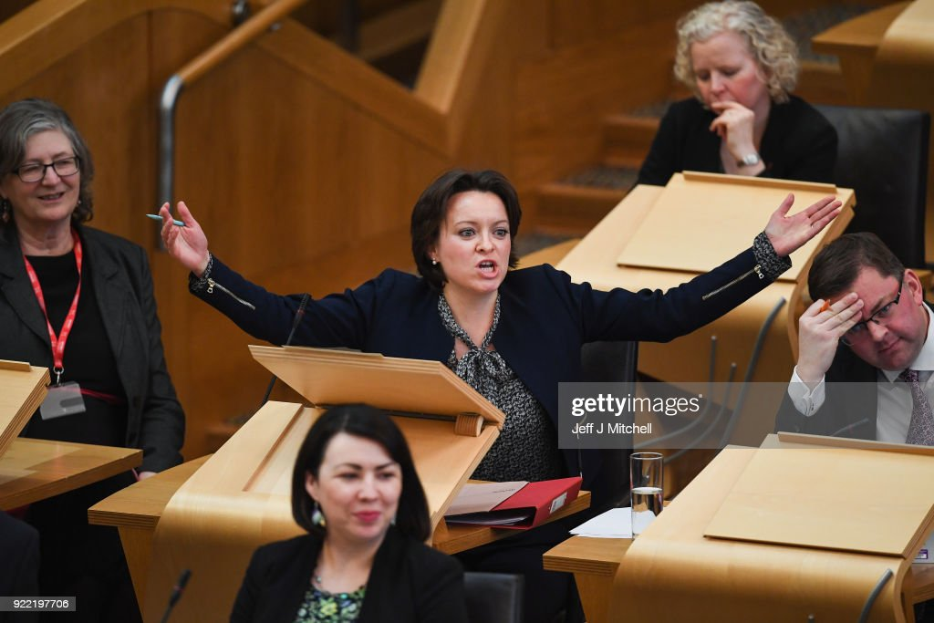 Labour's Jenny Marra reacts to Finance secretary Derek Mackay as he addresses the Scottish Parliament during final stage of Scottish Budget on February 21, 2018 in Edinburgh, Scotland. The final debate on the Budget Bill took place ahead of the crucial vote at decision time later today.