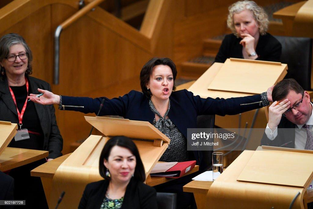 Holyrood Debates The Scottish Budget For 2018/2019 : News Photo