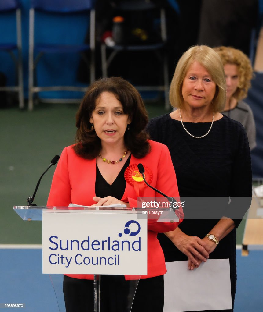Labour's Julie Elliott gives a speech after being declared winner of the Sunderland Central constituency on June 8, 2017 in Sunderland, United Kingdom. After a snap election was called, the United Kingdom went to the polls today following a closely fought election. The results from across the country are being counted and an overall result is expected in the early hours.