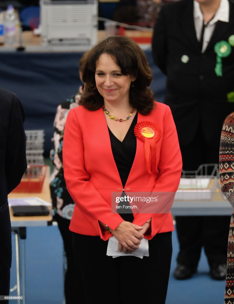 Labour's Julie Elliott is declared winner of the Sunderland Central constituency on June 8, 2017 in Sunderland, United Kingdom. After a snap election was called, the United Kingdom went to the polls today following a closely fought election. The results from across the country are being counted and an overall result is expected in the early hours.