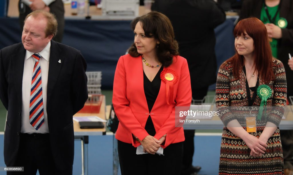 Labour's Julie Elliott (C) is declared winner of the Sunderland Central constituency on June 8, 2017 in Sunderland, United Kingdom. After a snap election was called, the United Kingdom went to the polls today following a closely fought election. The results from across the country are being counted and an overall result is expected in the early hours.