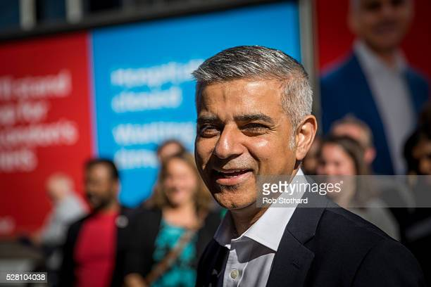 Labour's London Mayoral candidate Sadiq Khan and member of Parliament for Tooting speaks to supporters in Montgomery Square in Canary Wharf on May 4...