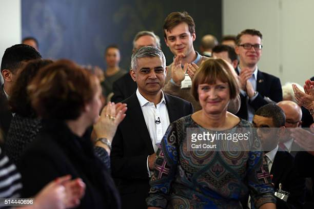 Labour's London mayoral candidate Sadiq Khan walks behind Shadow Minister for the Cabinet Office Tessa Jowell as he arrives to launch his manifesto...