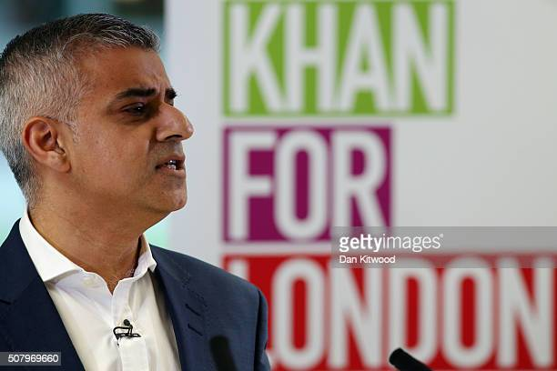 Labour's London mayoral election Sadiq Khan adresses members of the media during a press confrerence at West Thames College on February 2, 2016 in...