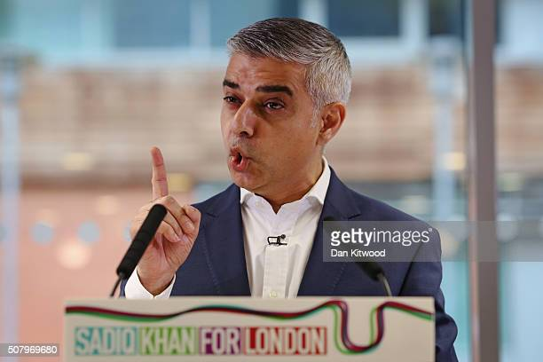 Labour's London mayoral election Sadiq Khan adresses members of the media during a press confrerence at West Thames College on February 2 2016 in...