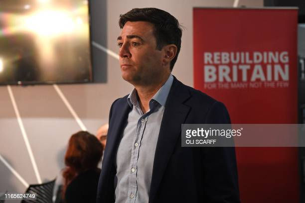 Labour's mayor of Greater Manchester Andy Burnham attends a event where Britain's main opposition Labour Party leader Jeremy Corbyn will give a...