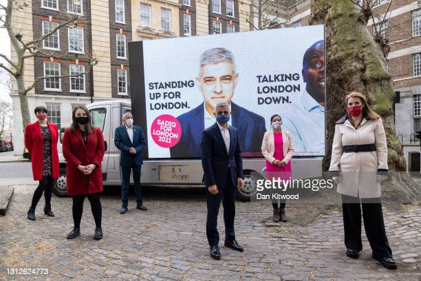 Labour's Mayor of London Sadiq Khan, Deputy Leader of the Labour party Angela Rayner and other local assembly election candidates as he unveils his...