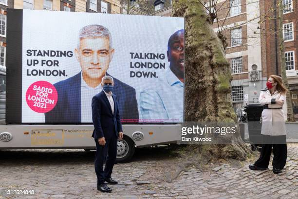Labour's Mayor of London Sadiq Khan, is joined by Deputy Leader of the Labour party Angela Rayner as he unveils his campaign advert ahead the London...