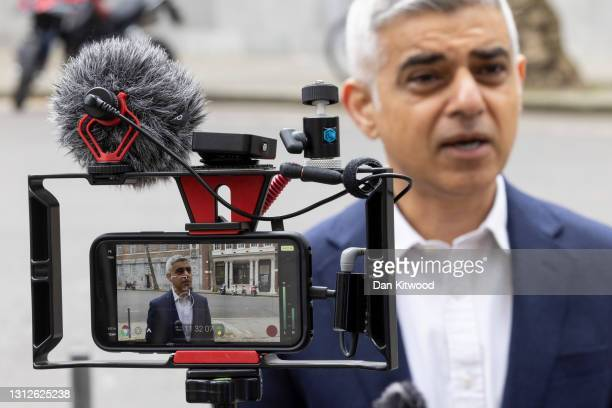 Labour's Mayor of London Sadiq Khan, unveils his campaign advert ahead the London Mayoral elections, on April 15, 2021 in London, England. Mr Kahn is...